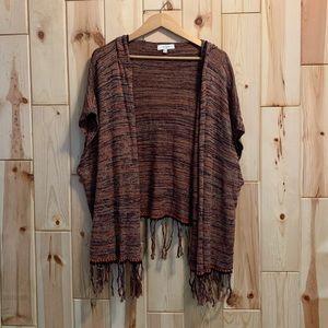 Umgee Boho Hooded Fringe Sweater M